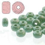 2.5 Grams of 2x3mm Czech Glass Faceted Micro Spacers - Chalk Dark Green Luster