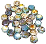 30 Czech Glass 6mm Honeycomb Hex 2-Hole Beads - Chalk Lazure Blue