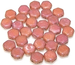 30 Czech Glass 6mm Honeycomb Hex 2-Hole Beads - Chalk Red Luster