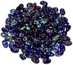 7.5 Grams of MiniDuo Czech Glass Beads - Cobalt Picasso