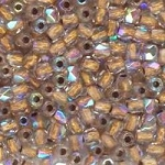 4 Dozen Czech 2mm Fire-Polished Glass Beads - Crystal AB Bronze Lined