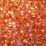 7.5 Grams Of Miyuki Czech Unions Size 8 Seed Beads - Crystal Apricot Medium