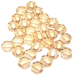 30 Czech Glass 6mm Honeycomb Hex 2-Hole Beads - Crystal Beige Luster