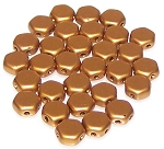 30 Czech Glass 6mm Honeycomb Hex 2-Hole Beads - Crystal Bronze Gold