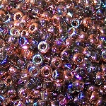 7.5 Grams Of Miyuki Czech Unions Size 8 Seed Beads - Crystal Copper Rainbow