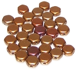 30 Czech Glass 6mm Honeycomb Hex 2-Hole Beads - Crystal Dark Gold Rainbow