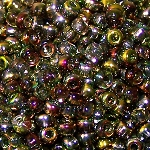 7.5 Grams Of Miyuki Czech Unions Size 8 Seed Beads - Crystal Magic Green