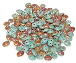 7.5 Grams - Superduo Beads - DUETS - Green Turquoise And Ivory Dark Travertine