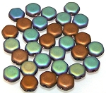 30 Czech Glass 6mm Honeycomb Hex 2-Hole Beads - Glittery Matte Bronze