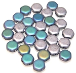 30 Czech Glass 6mm Honeycomb Hex 2-Hole Beads - Glittery Matte Silver