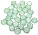 30 Czech Glass 6mm Honeycomb Hex 2-Hole Beads - Green Luster