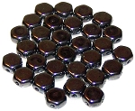 30 Czech Glass 6mm Honeycomb Hex 2-Hole Beads - Hematite