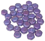 30 Czech Glass 6mm Honeycomb Hex 2-Hole Beads - Hodge Podge Blue Nebula Matte