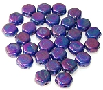 30 Czech Glass 6mm Honeycomb Hex 2-Hole Beads - Hodge Podge Blue Nebula