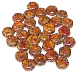 30 Czech Glass 6mm Honeycomb Hex 2-Hole Beads - Hodge Podge Orange Bronze