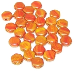 30 Czech Glass 6mm Honeycomb Hex 2-Hole Beads - Hodge Podge Orange Luster