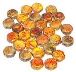30 Czech Glass 6mm Honeycomb Hex 2-Hole Beads - Hodge Podge Orange Travertine