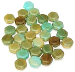 30 Czech Glass 6mm Honeycomb Hex 2-Hole Beads - Hodge Podge Seafoam Matte
