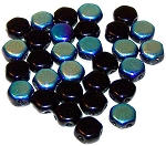 30 Czech Glass 6mm Honeycomb Hex 2-Hole Beads - Jet Ab