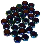 30 Czech Glass 6mm Honeycomb Hex 2-Hole Beads - Jet Blue Iris