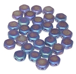 30 Czech Glass 6mm Honeycomb Hex 2-Hole Beads - Jet Blue Iris Matte