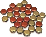 30 Czech Glass 6mm Honeycomb Hex 2-Hole Beads - Jet Matte California Gold Rush