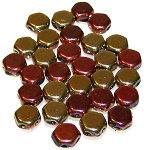 30 Czech Glass 6mm Honeycomb Hex 2-Hole Beads - Jet California Gold Rush
