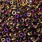 7.5 Grams Of Miyuki Czech Unions Size 8 Seed Beads - Jet California Violet