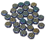 30 Czech Glass 6mm Honeycomb Hex 2-Hole Beads - Jet Laser Web Ab