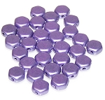 30 Czech Glass 6mm Honeycomb Hex 2-Hole Beads - Jet Metallic Suede Purple