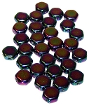 30 Czech Glass 6mm Honeycomb Hex 2-Hole Beads - Jet Purple Iris
