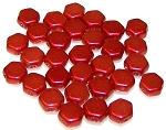 30 Czech Glass 6mm Honeycomb Hex 2-Hole Beads - Chalk Lava Red