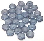 30 Czech Glass 6mm Honeycomb Hex 2-Hole Beads - Crystal Matte Blue Luster