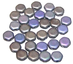 30 Czech Glass 6mm Honeycomb Hex 2-Hole Beads - Glittery Matte Graphite