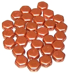 30 Czech Glass 6mm Honeycomb Hex 2-Hole Beads - Matte Metallic Copper