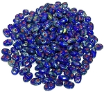 7.5 Grams of MiniDuo Czech Glass Beads - Opaque Blue Picasso