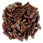 7.5 Grams of CzechMates Crescent Czech Glass Beads - Opaque Red Bronze Picasso