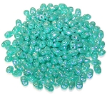 7.5 Grams of MiniDuo Czech Glass Beads - Opaque Turquoise Luster
