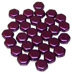 30 Czech Glass 6mm Honeycomb Hex 2-Hole Beads - Pastel Bordeaux