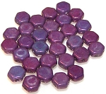 30 Czech Glass 6mm Honeycomb Hex 2-Hole Beads - Purple Vega