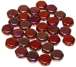 30 Czech Glass 6mm Honeycomb Hex 2-Hole Beads - Red Iris Luster