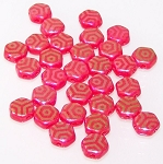 30 Czech Glass 6mm Honeycomb Hex 2-Hole Beads - Red Laser Web Ab