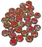 30 Czech Glass 6mm Honeycomb Hex 2-Hole Beads - Red Travertine