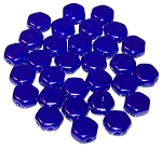 30 Czech Glass 6mm Honeycomb Hex 2-Hole Beads - Royal Blue Luster