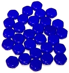 30 Czech Glass 6mm Honeycomb Hex 2-Hole Beads - Royal Blue Opaque