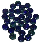 30 Czech Glass 6mm Honeycomb Hex 2-Hole Beads - Royal Blue Dark Travertine