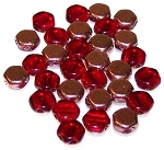 30 Czech Glass 6mm Honeycomb Hex 2-Hole Beads - Ruby Capri Gold