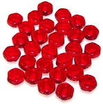 30 Czech Glass 6mm Honeycomb Hex 2-Hole Beads - Ruby