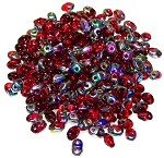 7.5 Grams of MiniDuo Czech Glass Beads - Ruby Vitrail