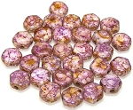 30 Czech Glass 6mm Honeycomb Hex 2-Hole Beads - Senegal Purple